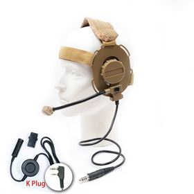 Picture of K plug Tactical Headset with Big PTT Switch for Kenwood Wouxun Baofeng